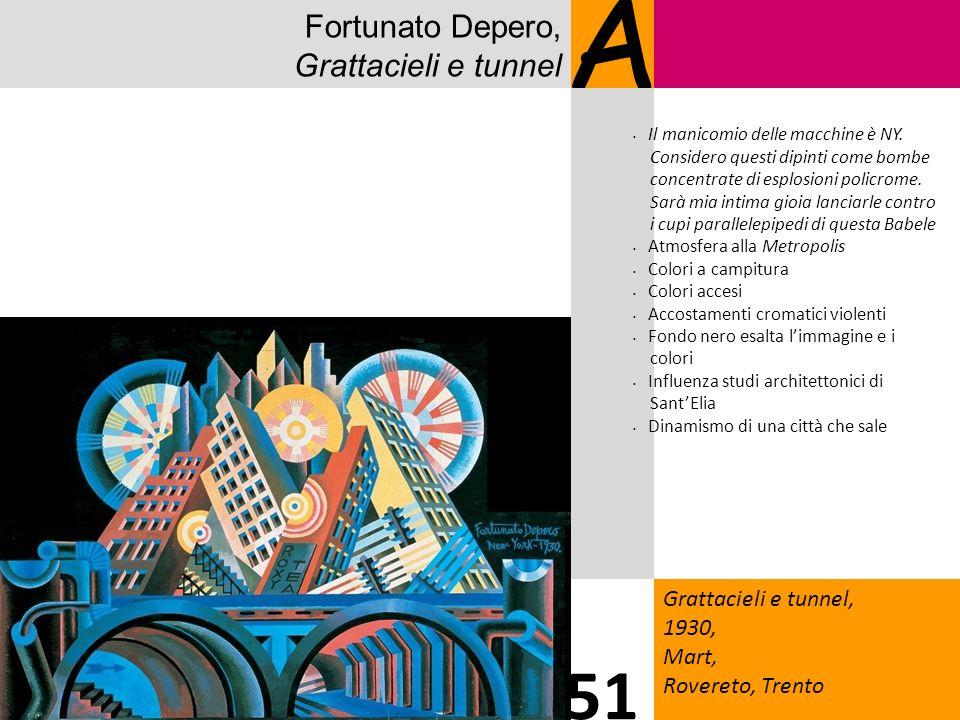 Fortunato Depero, Grattacieli e tunnel A Grattacieli e tunnel, 1930, Mart, Rovereto, Trento 51 Il manicomio delle macchine è NY. Considero questi dipi