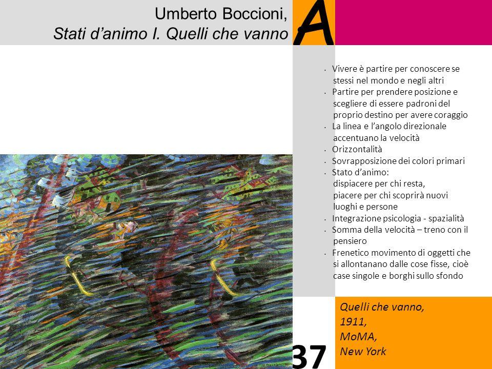 Umberto Boccioni, Stati danimo I. Quelli che vanno A Quelli che vanno, 1911, MoMA, New York 37 Vivere è partire per conoscere se stessi nel mondo e ne