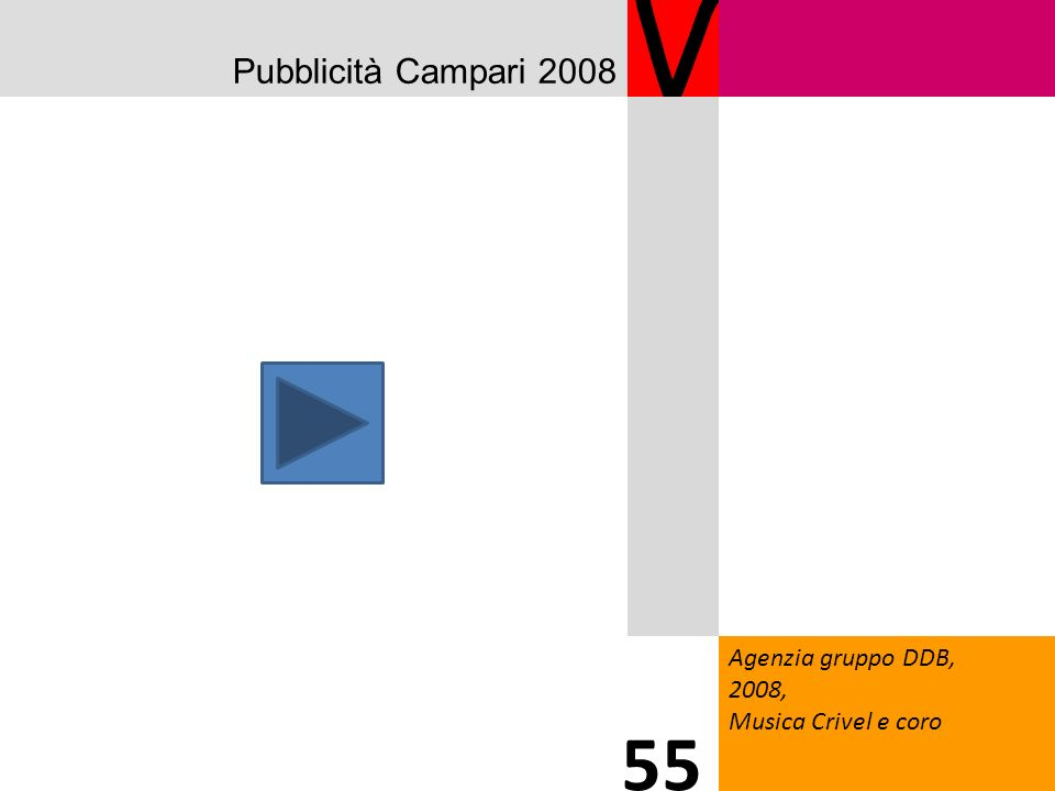 Pubblicità Campari 2008 V Agenzia gruppo DDB, 2008, Musica Crivel e coro 55