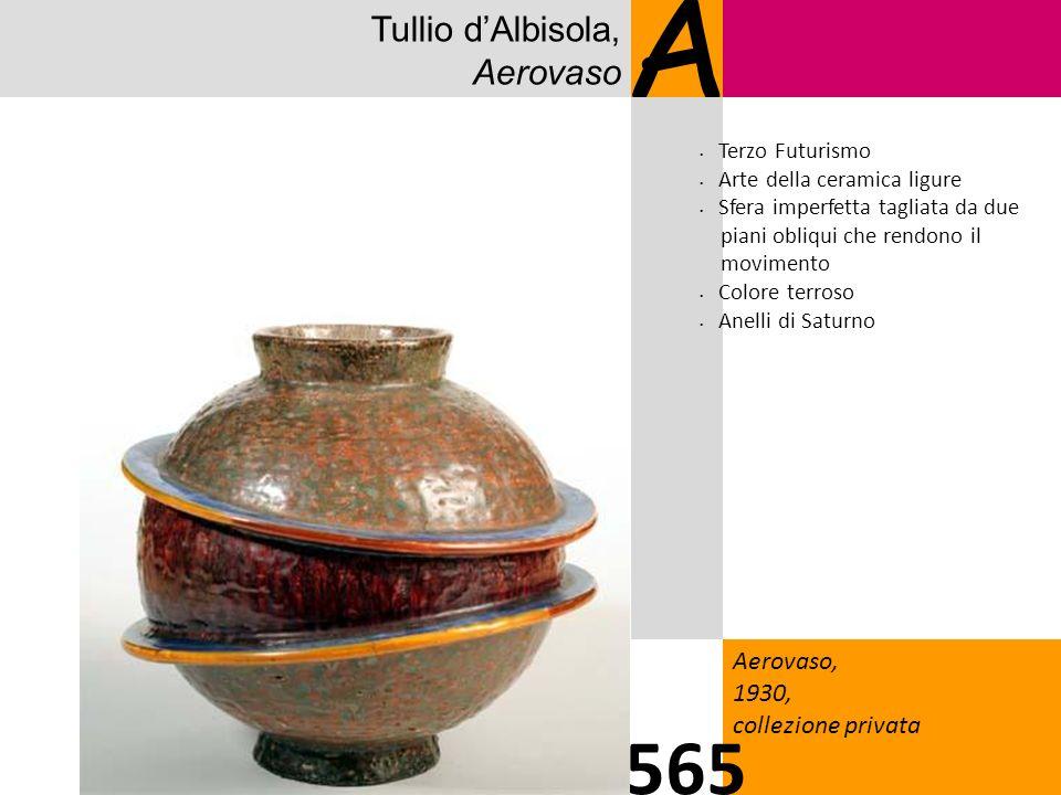 Tullio dAlbisola, Aerovaso A Aerovaso, 1930, collezione privata 565 Terzo Futurismo Arte della ceramica ligure Sfera imperfetta tagliata da due piani obliqui che rendono il movimento Colore terroso Anelli di Saturno