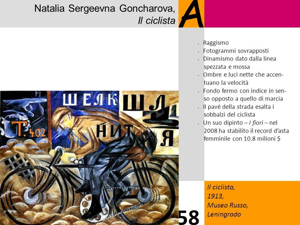 Natalia Sergeevna Goncharova, Il ciclista A Il ciclista, 1913, Museo Russo, Leningrado 58 Raggismo Fotogrammi sovrapposti Dinamismo dato dalla linea s