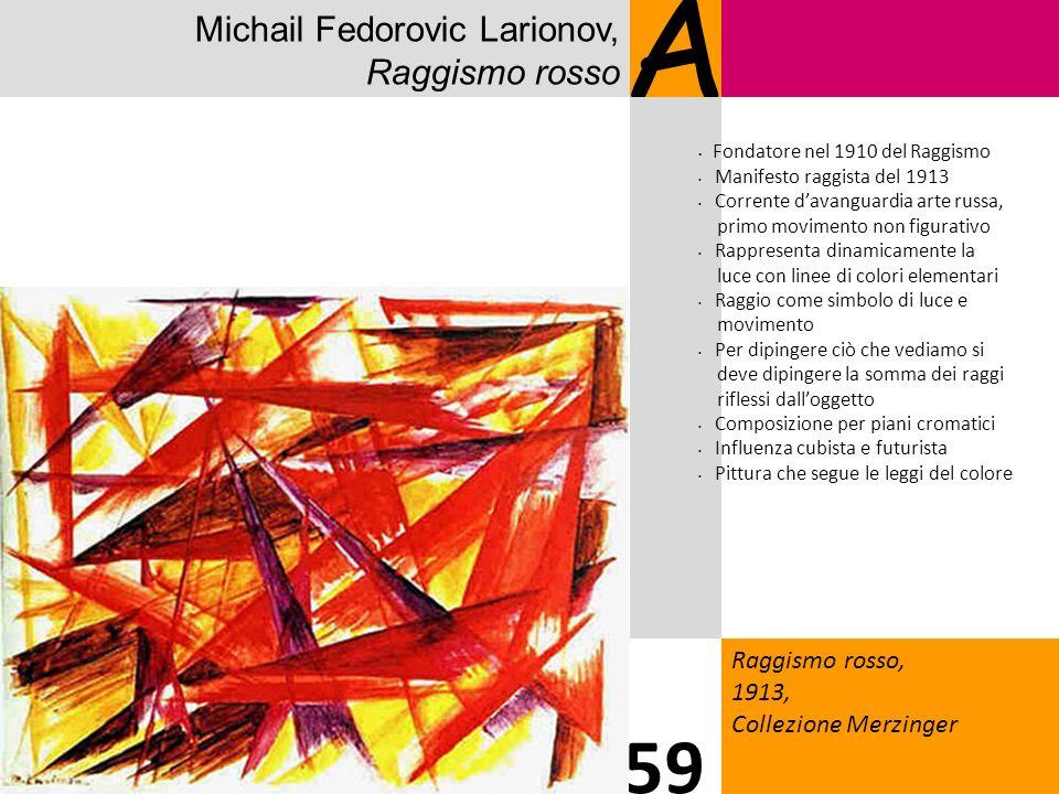 Michail Fedorovic Larionov, Raggismo rosso A Raggismo rosso, 1913, Collezione Merzinger 59 Fondatore nel 1910 del Raggismo Manifesto raggista del 1913