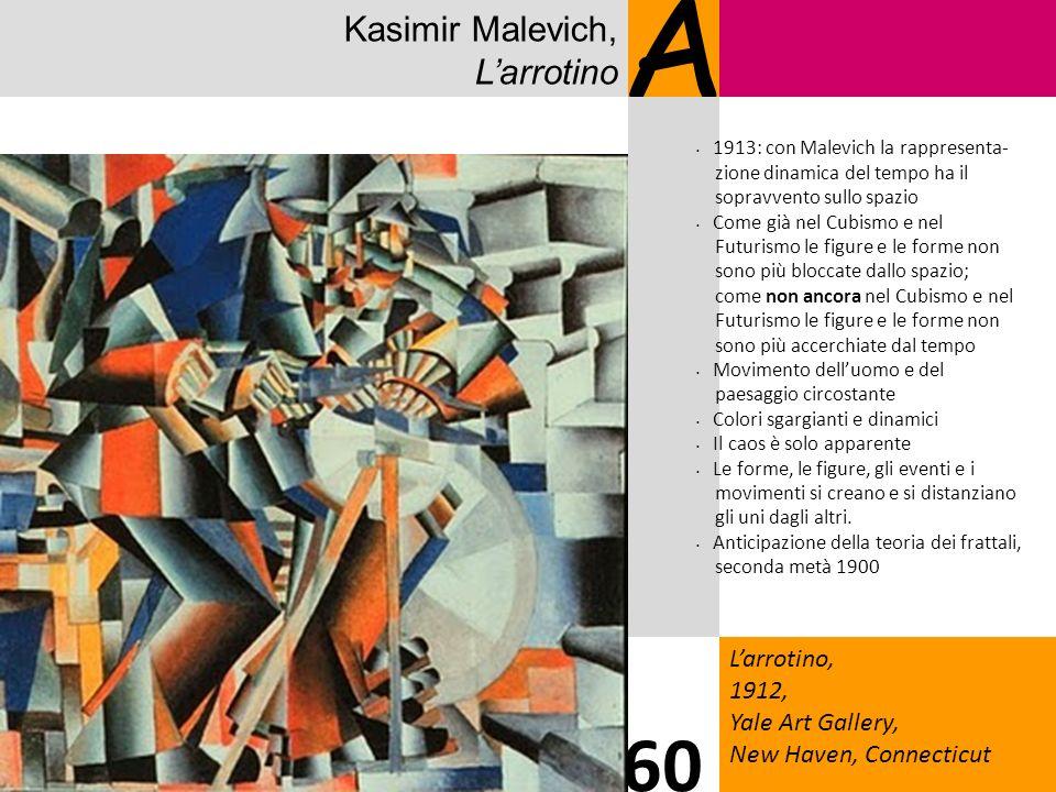 Kasimir Malevich, Larrotino A Larrotino, 1912, Yale Art Gallery, New Haven, Connecticut 60 1913: con Malevich la rappresenta- zione dinamica del tempo ha il sopravvento sullo spazio Come già nel Cubismo e nel Futurismo le figure e le forme non sono più bloccate dallo spazio; come non ancora nel Cubismo e nel Futurismo le figure e le forme non sono più accerchiate dal tempo Movimento delluomo e del paesaggio circostante Colori sgargianti e dinamici Il caos è solo apparente Le forme, le figure, gli eventi e i movimenti si creano e si distanziano gli uni dagli altri.