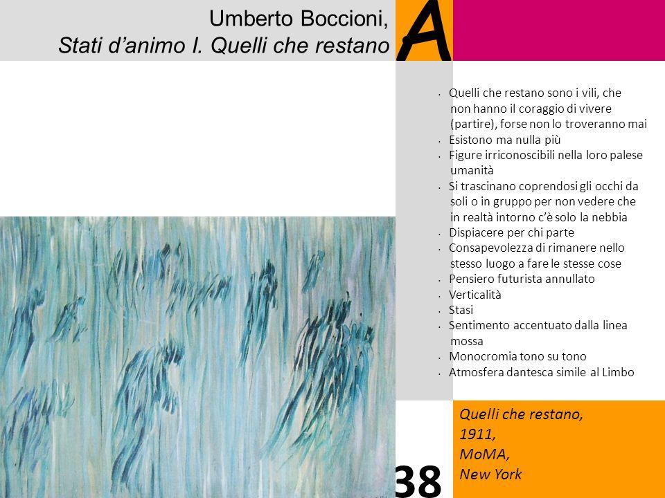 Umberto Boccioni, Stati danimo I. Quelli che restano A Quelli che restano, 1911, MoMA, New York 38 Quelli che restano sono i vili, che non hanno il co