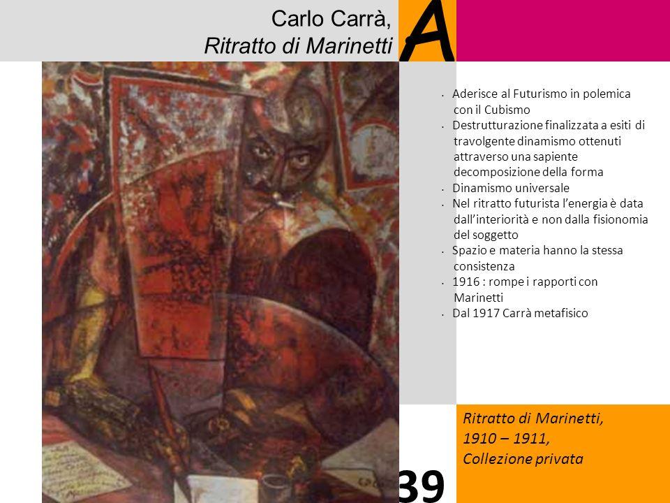 Carlo Carrà, Ritratto di Marinetti A Ritratto di Marinetti, 1910 – 1911, Collezione privata 39 Aderisce al Futurismo in polemica con il Cubismo Destru