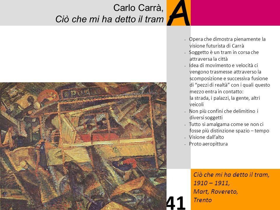 Carlo Carrà, Ciò che mi ha detto il tram A Ciò che mi ha detto il tram, 1910 – 1911, Mart, Rovereto, Trento 41 Opera che dimostra pienamente la vision