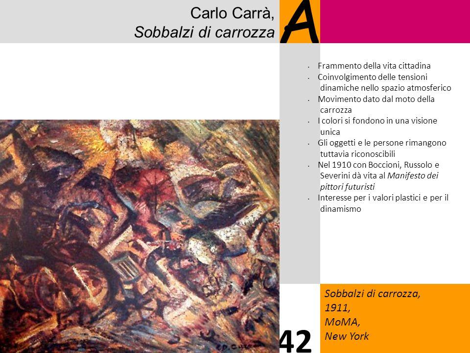 Carlo Carrà, Sobbalzi di carrozza A Sobbalzi di carrozza, 1911, MoMA, New York 42 Frammento della vita cittadina Coinvolgimento delle tensioni dinamic