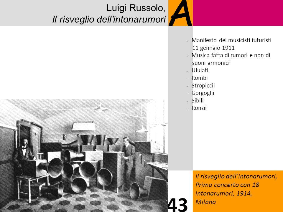 Luigi Russolo, Il risveglio dellintonarumori A Il risveglio dellintonarumori, Primo concerto con 18 intonarumori, 1914, Milano 43 Manifesto dei musici