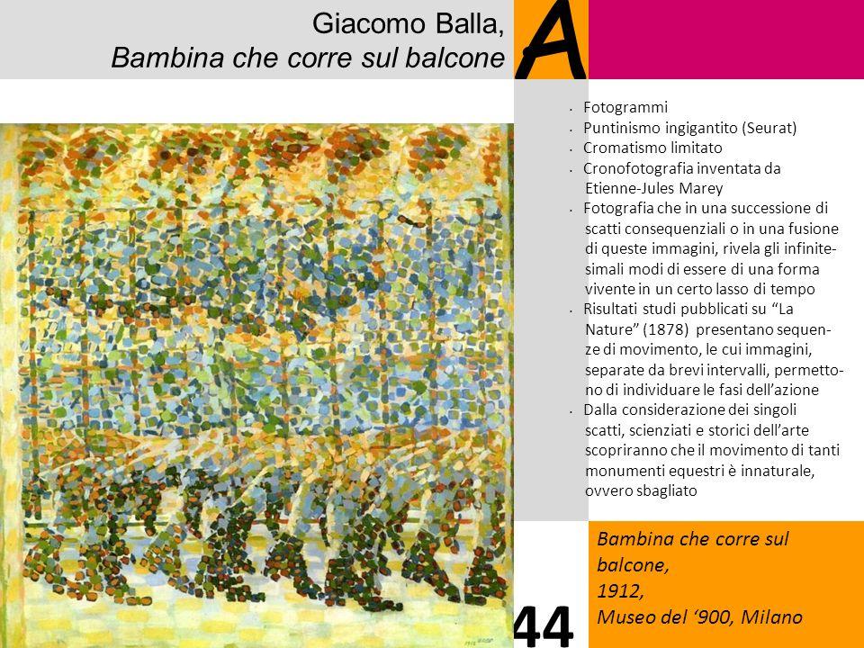 Giacomo Balla, Bambina che corre sul balcone A Bambina che corre sul balcone, 1912, Museo del 900, Milano 44 Fotogrammi Puntinismo ingigantito (Seurat