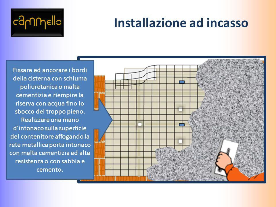 Installazione ad incasso Utilizzare rete porta intonaco in fibra di vetro durante le successive fasi di intonaco