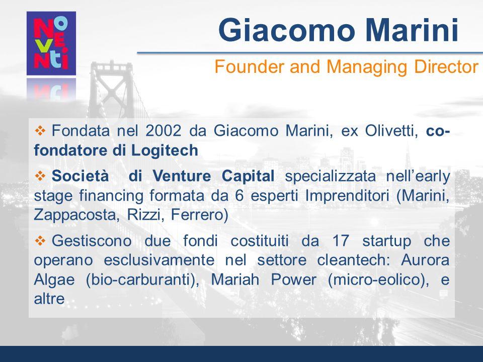 Fondata nel 2002 da Giacomo Marini, ex Olivetti, co- fondatore di Logitech Società di Venture Capital specializzata nellearly stage financing formata