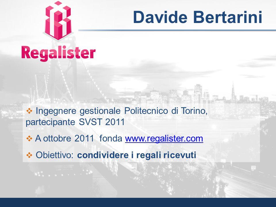Ingegnere gestionale Politecnico di Torino, partecipante SVST 2011 A ottobre 2011 fonda www.regalister.comwww.regalister.com Obiettivo: condividere i
