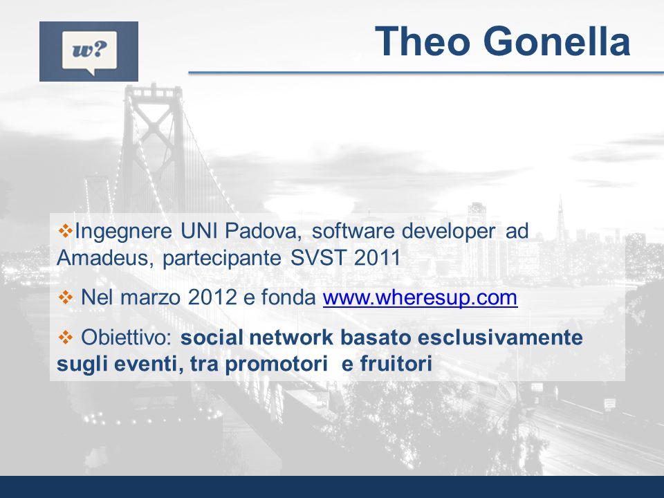 Ingegnere UNI Padova, software developer ad Amadeus, partecipante SVST 2011 Nel marzo 2012 e fonda www.wheresup.comwww.wheresup.com Obiettivo: social
