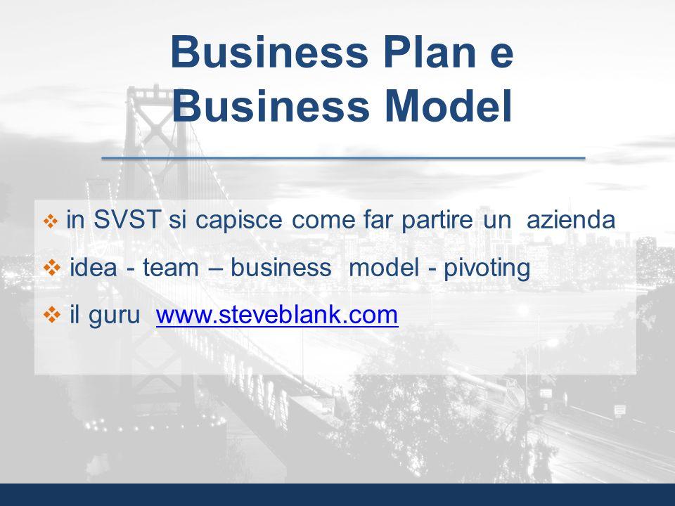 in SVST si capisce come far partire un azienda idea - team – business model - pivoting il guru www.steveblank.comwww.steveblank.com Business Plan e Bu