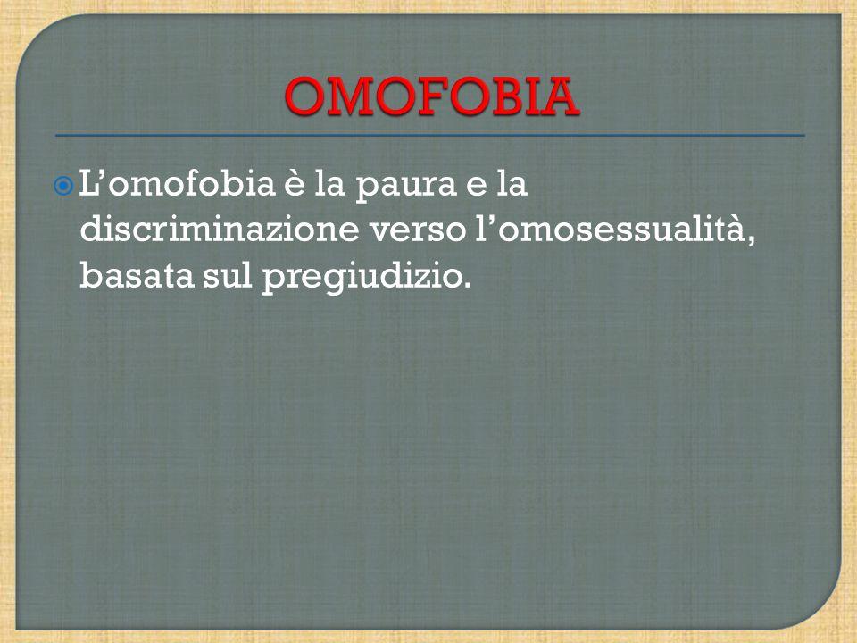 Lomofobia è la paura e la discriminazione verso lomosessualità, basata sul pregiudizio.