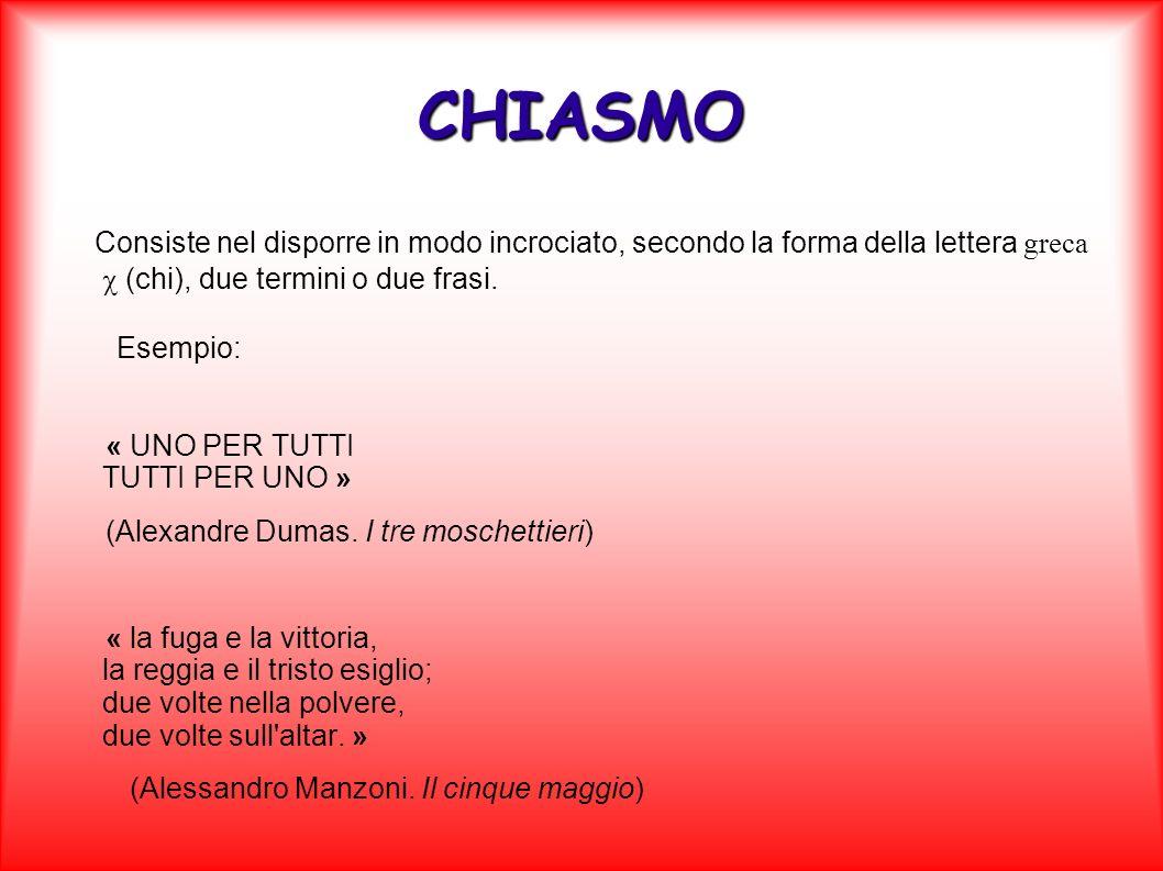 CHIASMO Consiste nel disporre in modo incrociato, secondo la forma della lettera greca (chi), due termini o due frasi. Esempio: « UNO PER TUTTI TUTTI
