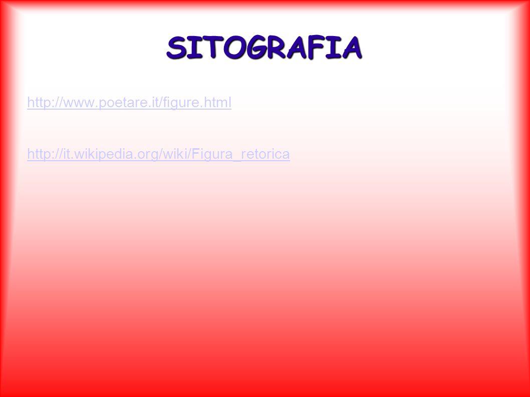 SITOGRAFIA http://www.poetare.it/figure.html http://it.wikipedia.org/wiki/Figura_retorica