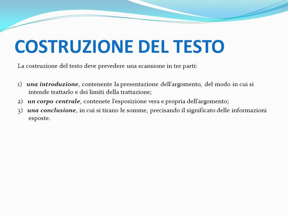 COSTRUZIONE DEL TESTO La costruzione del testo deve prevedere una scansione in tre parti: 1) una introduzione, contenente la presentazione dellargomen