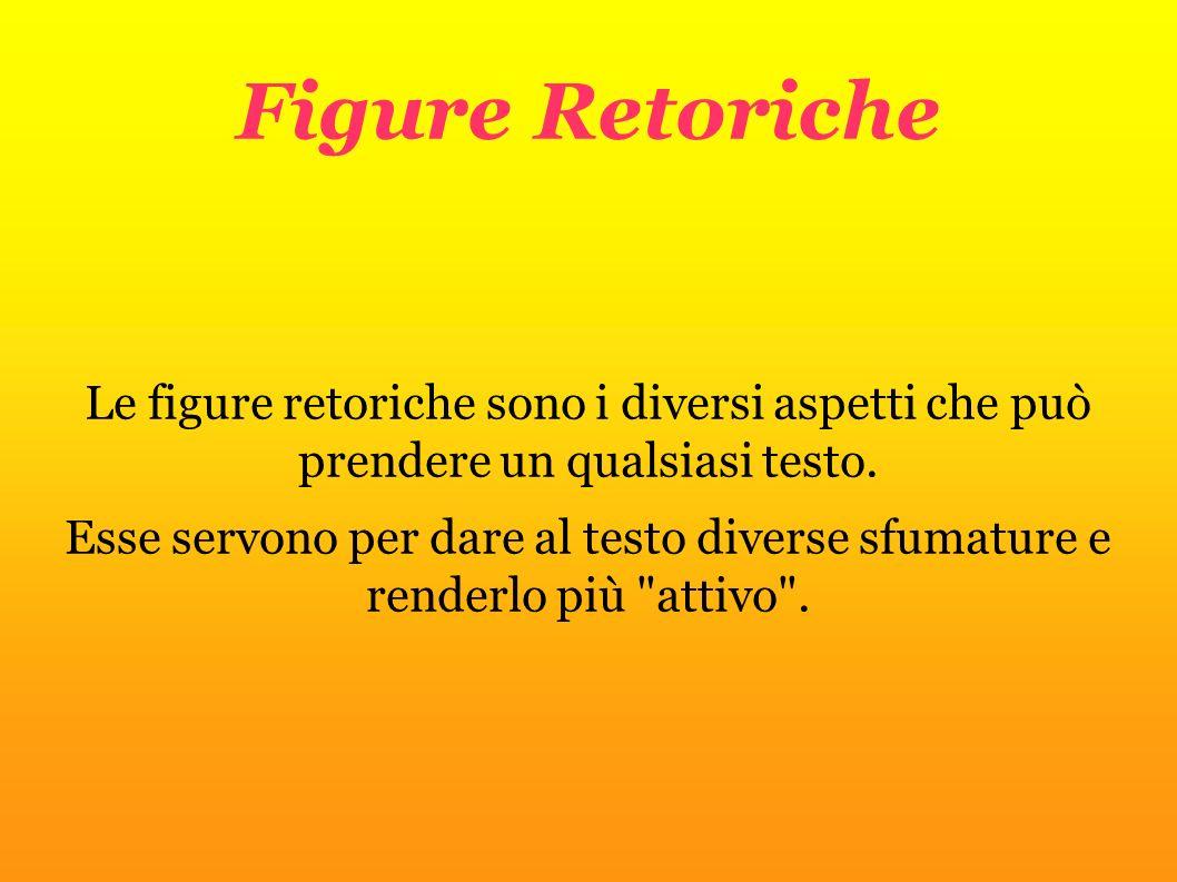 Figure Retoriche Le figure retoriche sono i diversi aspetti che può prendere un qualsiasi testo. Esse servono per dare al testo diverse sfumature e re
