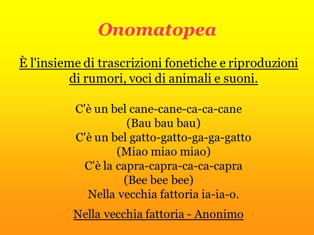 Onomatopea È l'insieme di trascrizioni fonetiche e riproduzioni di rumori, voci di animali e suoni. C'è un bel cane-cane-ca-ca-cane (Bau bau bau) C'è