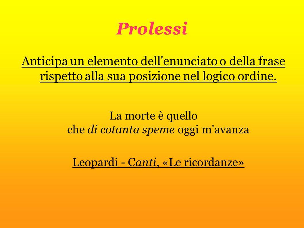 Prolessi Anticipa un elemento dell'enunciato o della frase rispetto alla sua posizione nel logico ordine. La morte è quello che di cotanta speme oggi