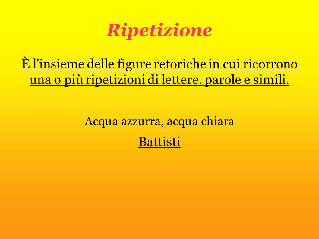 Ripetizione È l'insieme delle figure retoriche in cui ricorrono una o più ripetizioni di lettere, parole e simili. Acqua azzurra, acqua chiara Battist