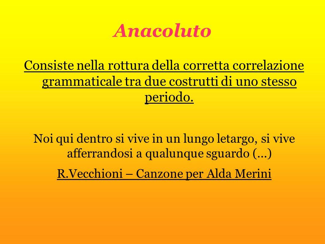 Anacoluto Consiste nella rottura della corretta correlazione grammaticale tra due costrutti di uno stesso periodo. Noi qui dentro si vive in un lungo