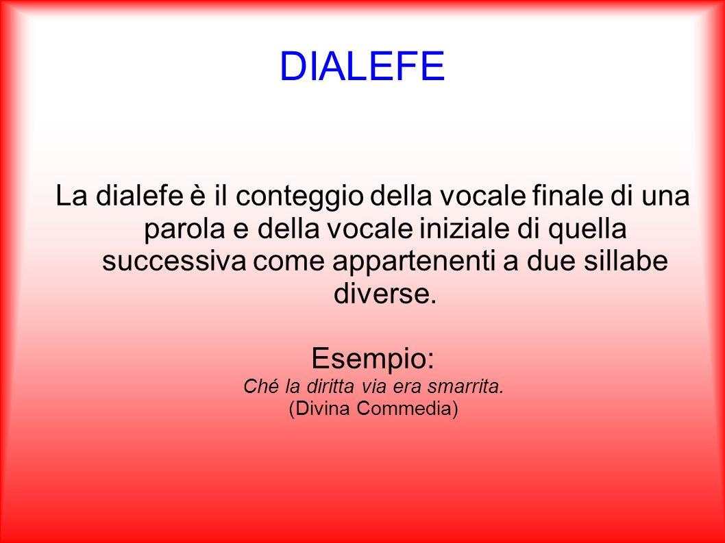 DIALEFE La dialefe è il conteggio della vocale finale di una parola e della vocale iniziale di quella successiva come appartenenti a due sillabe diver