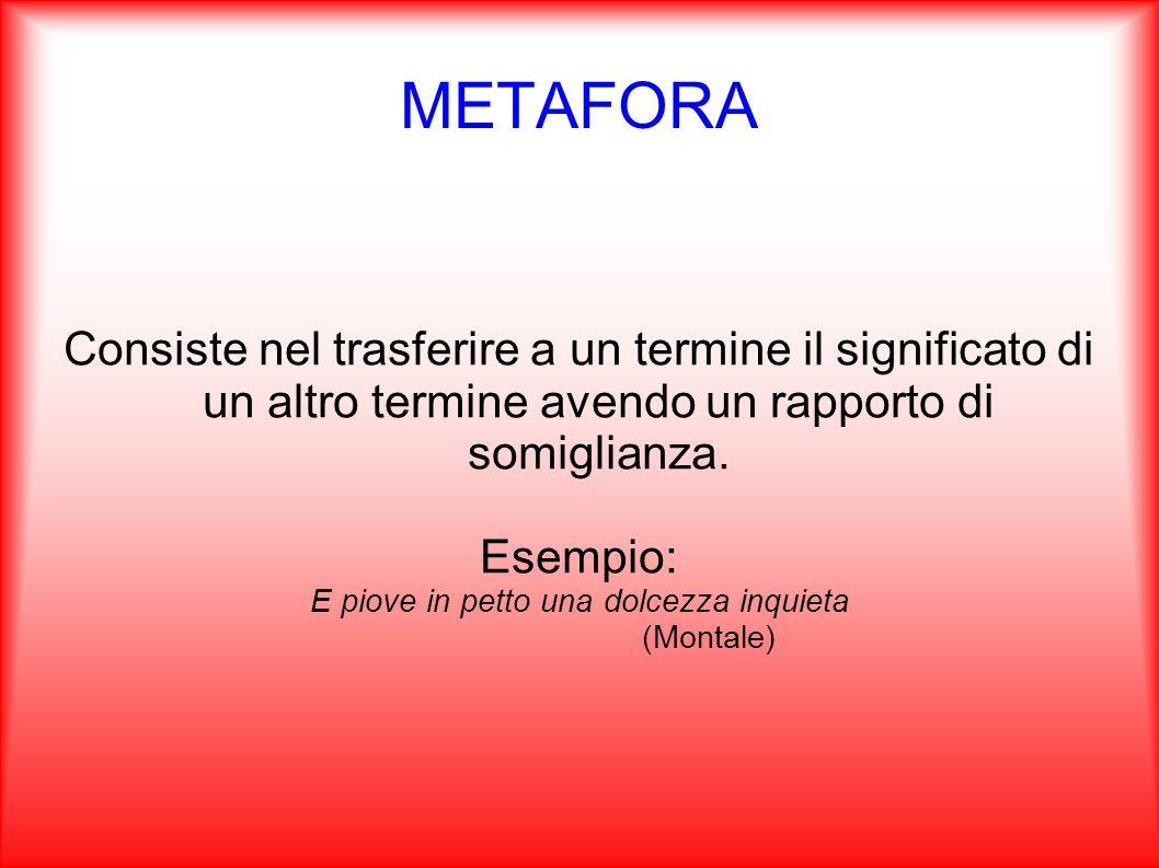 METAFORA Consiste nel trasferire a un termine il significato di un altro termine avendo un rapporto di somiglianza. Esempio: E piove in petto una dolc