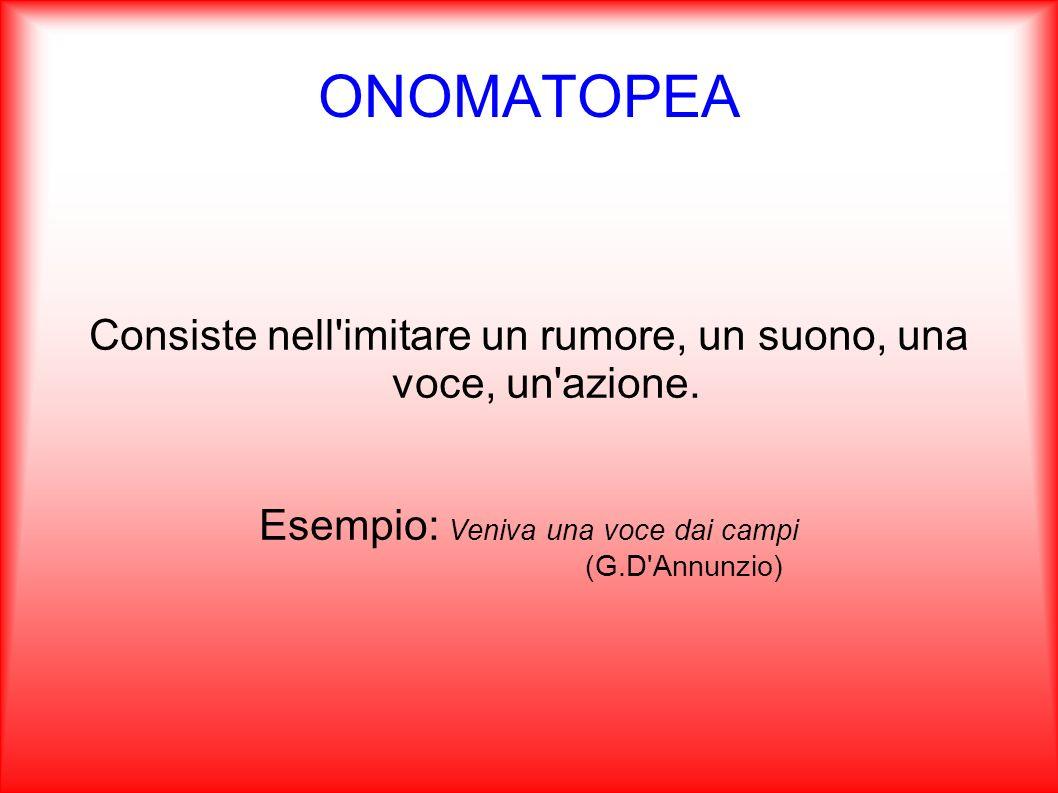 ONOMATOPEA Consiste nell'imitare un rumore, un suono, una voce, un'azione. Esempio: Veniva una voce dai campi (G.D'Annunzio)