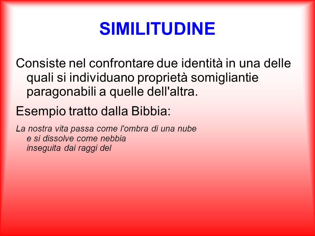 SIMILITUDINE Consiste nel confrontare due identità in una delle quali si individuano proprietà somigliantie paragonabili a quelle dell'altra. Esempio
