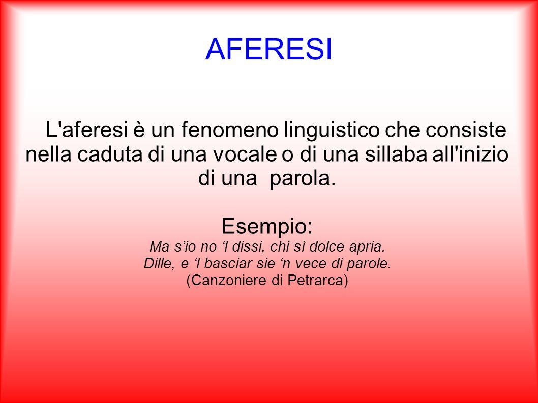 AFERESI L'aferesi è un fenomeno linguistico che consiste nella caduta di una vocale o di una sillaba all'inizio di una parola. Esempio: Ma sio no l di