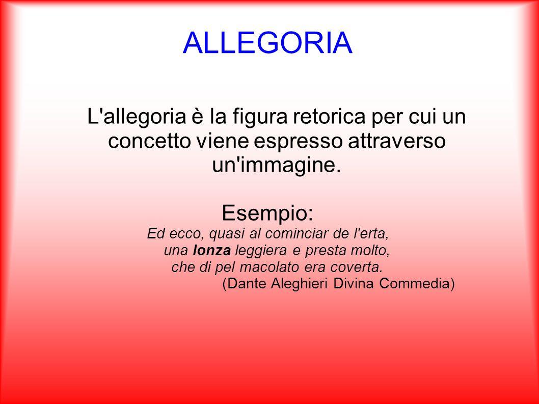 ALLEGORIA L'allegoria è la figura retorica per cui un concetto viene espresso attraverso un'immagine. Esempio: Ed ecco, quasi al cominciar de l'erta,