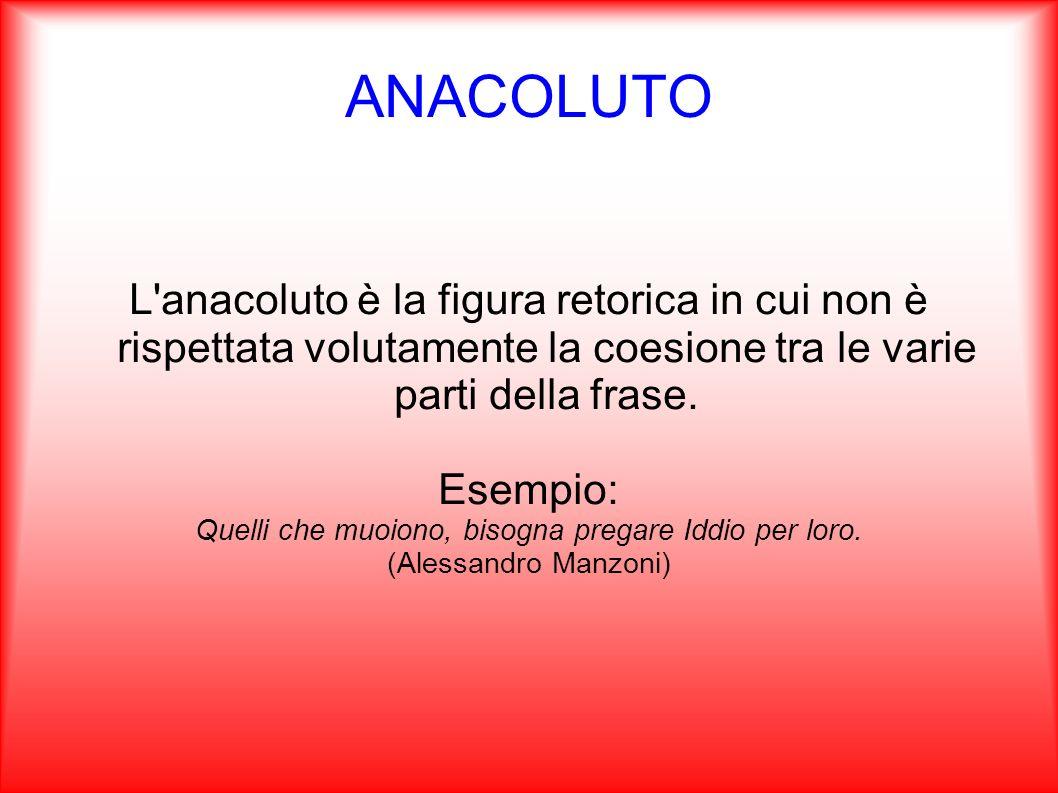 ANAFORA L anafora è una figura retorica che consiste nel ripetere una parola o un espressione all inizio di frasi o di versi successivi, per sottolineare un concetto.