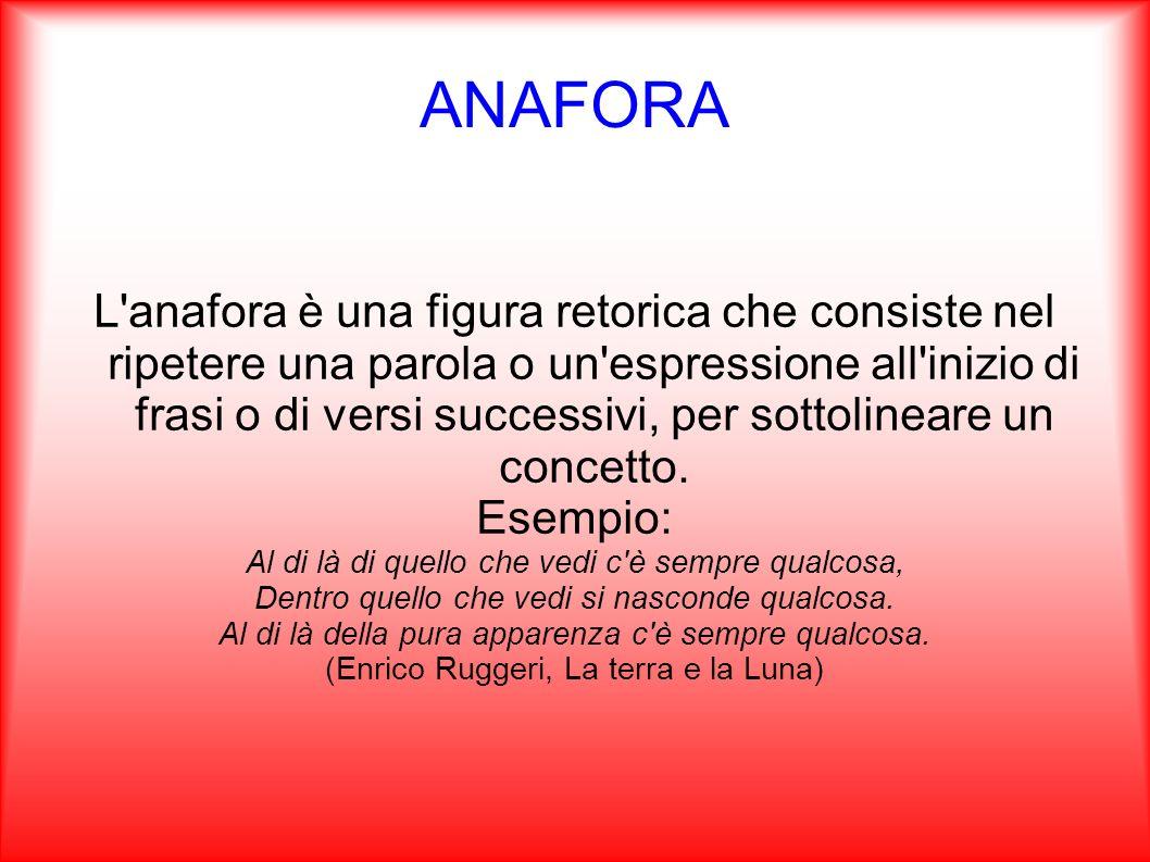 ANAFORA L'anafora è una figura retorica che consiste nel ripetere una parola o un'espressione all'inizio di frasi o di versi successivi, per sottoline