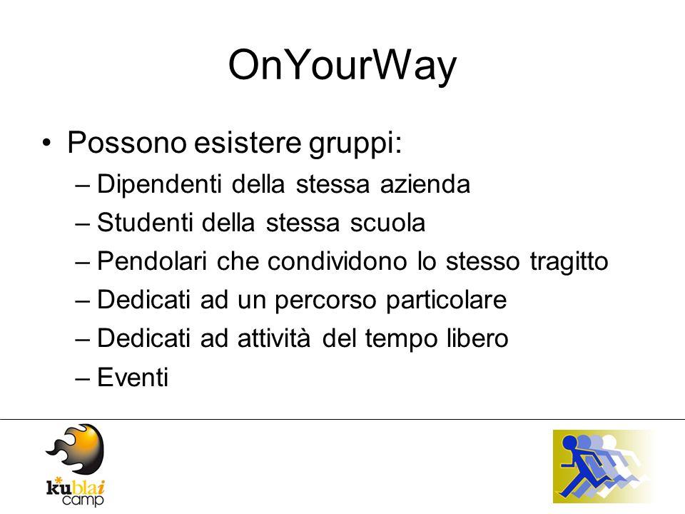 OnYourWay Possono esistere gruppi: –Dipendenti della stessa azienda –Studenti della stessa scuola –Pendolari che condividono lo stesso tragitto –Dedicati ad un percorso particolare –Dedicati ad attività del tempo libero –Eventi