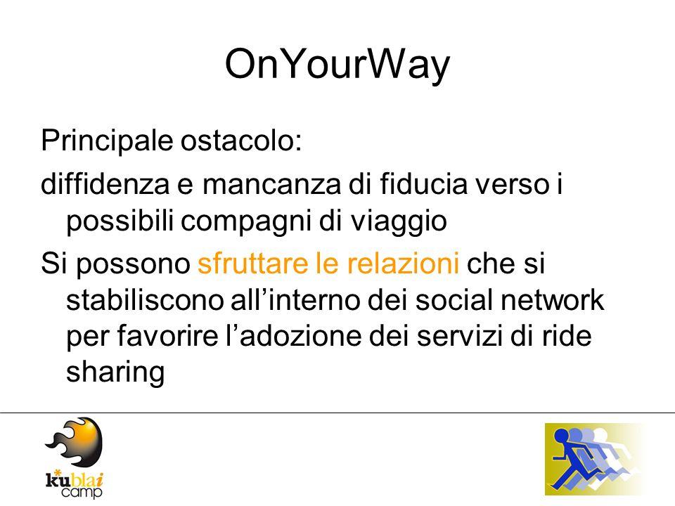OnYourWay Allo stato attuale è attivo (beta) un sistema di ride sharing basato solo sul veicolo privato web based Il progetto prevede la creazione di widget legati al sistema esistente che contamineranno i social network, la blogosfera e lintero ecosistema digitale.