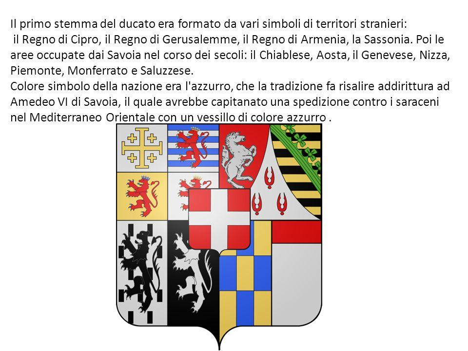 Il primo stemma del ducato era formato da vari simboli di territori stranieri: il Regno di Cipro, il Regno di Gerusalemme, il Regno di Armenia, la Sas