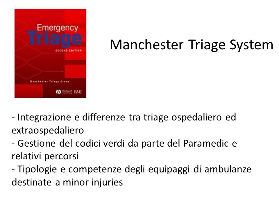 - Peculiarità del modello inglese rispetto a quello toscano - Standard e revisione di qualità Manchester Triage System