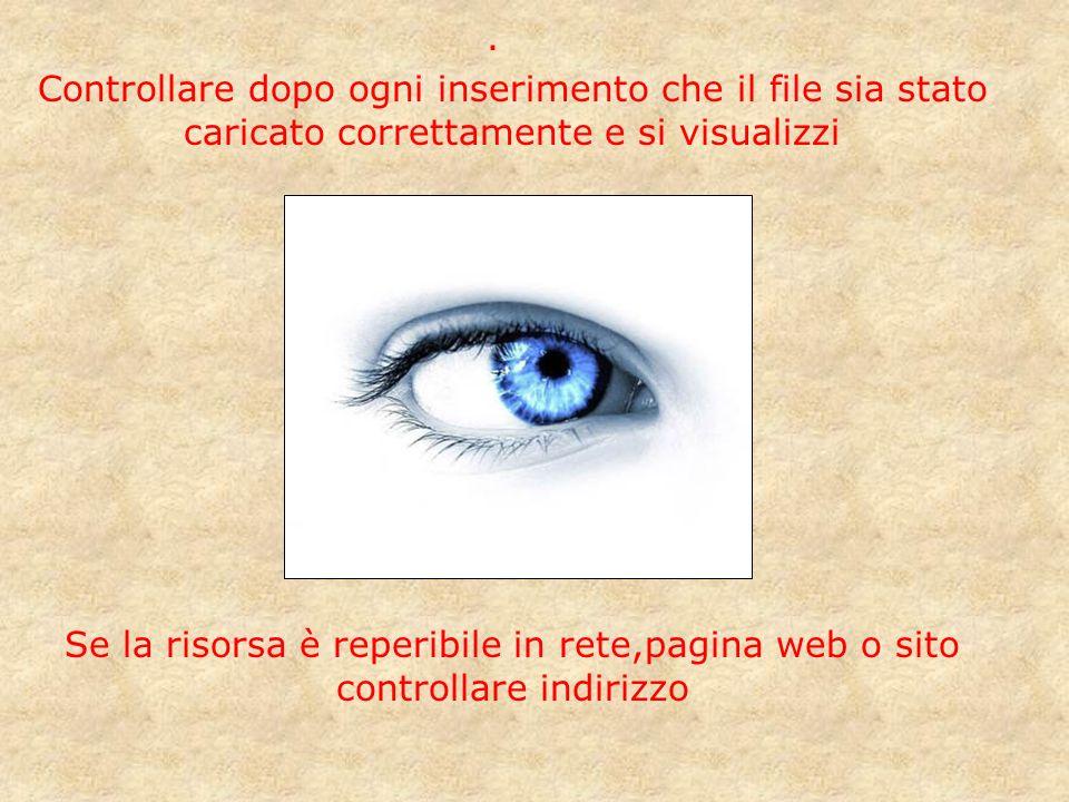 · Controllare dopo ogni inserimento che il file sia stato caricato correttamente e si visualizzi Se la risorsa è reperibile in rete,pagina web o sito