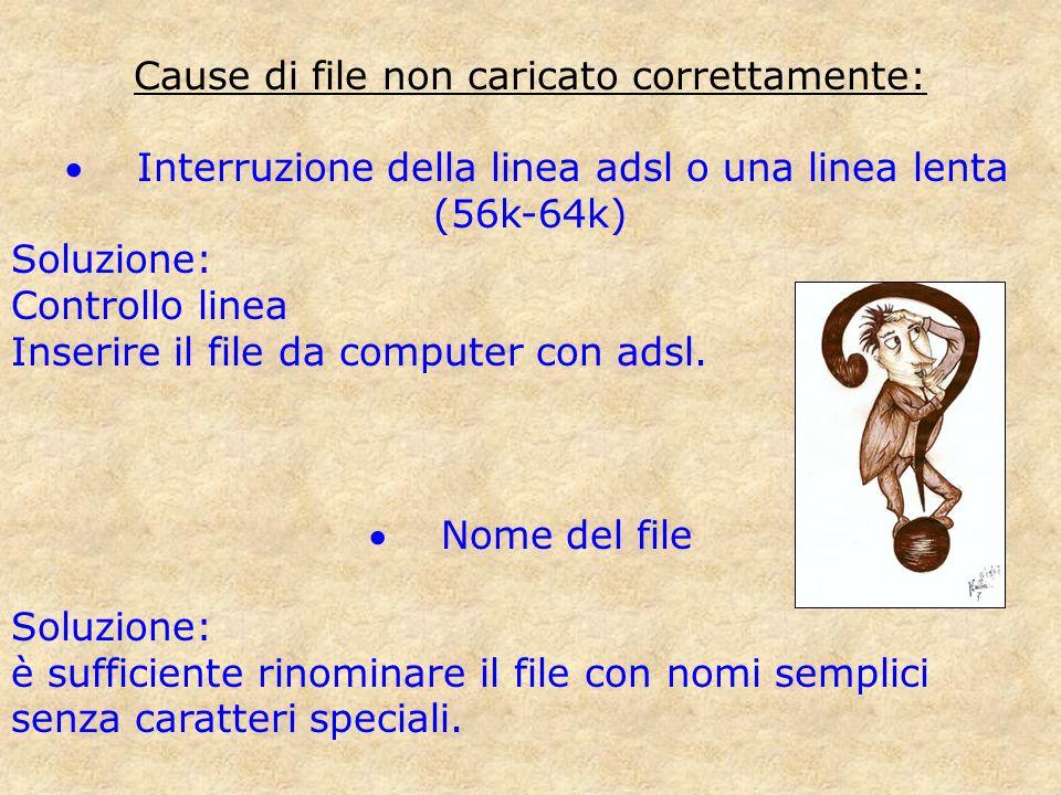 Cause di file non caricato correttamente: Interruzione della linea adsl o una linea lenta (56k-64k) Soluzione: Controllo linea Inserire il file da com