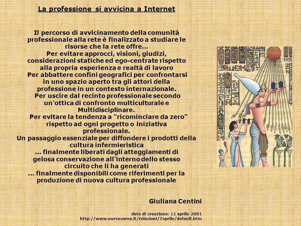 La professione si avvicina a Internet Il percorso di avvicinamento della comunità professionale alla rete è finalizzato a studiare le risorse che la r