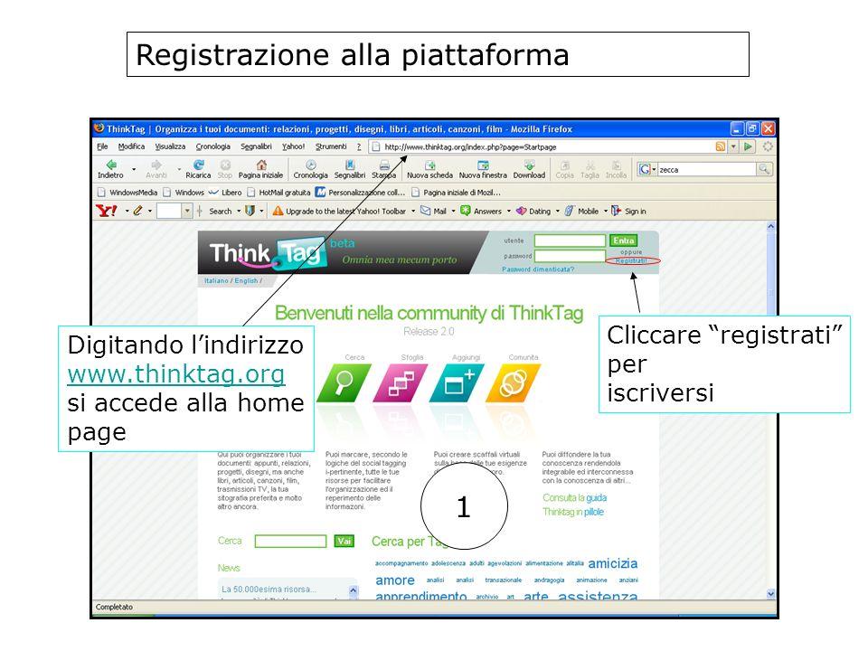 Registrazione alla piattaforma Digitando lindirizzo www.thinktag.org si accede alla home page Cliccare registrati per iscriversi 1
