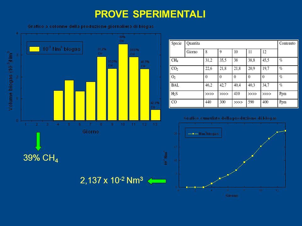 PROVE SPERIMENTALI 39% CH 4 2,137 x 10 -2 Nm 3