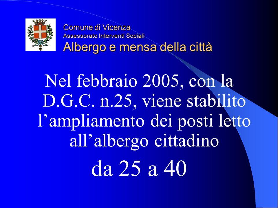 Comune di Vicenza Assessorato Interventi Sociali Albergo e mensa della città Nel febbraio 2005, con la D.G.C.
