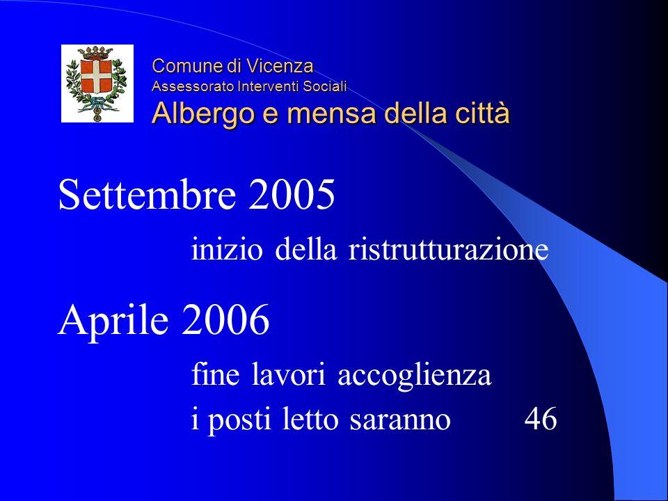 Comune di Vicenza Assessorato Interventi Sociali Albergo e mensa della città Settembre 2005 inizio della ristrutturazione Aprile 2006 fine lavori accoglienza i posti letto saranno 46