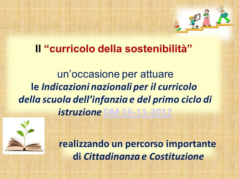 Il curricolo della sostenibilità unoccasione per attuare le Indicazioni nazionali per il curricolo della scuola dellinfanzia e del primo ciclo di istruzione DM 16-11-2012DM 16-11-2012 realizzando un percorso importante di Cittadinanza e Costituzione