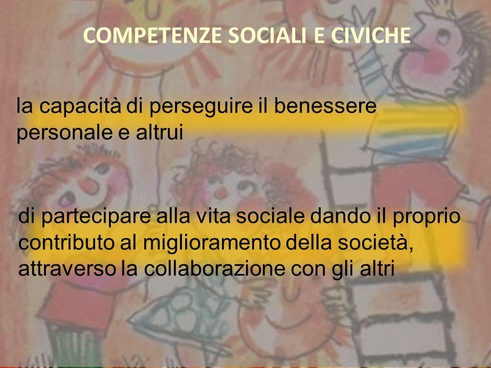 di partecipare alla vita sociale dando il proprio contributo al miglioramento della società, attraverso la collaborazione con gli altri la capacità di perseguire il benessere personale e altrui COMPETENZE SOCIALI E CIVICHE