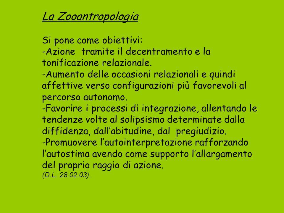 La Zooantropologia Si pone come obiettivi: -Azione tramite il decentramento e la tonificazione relazionale.