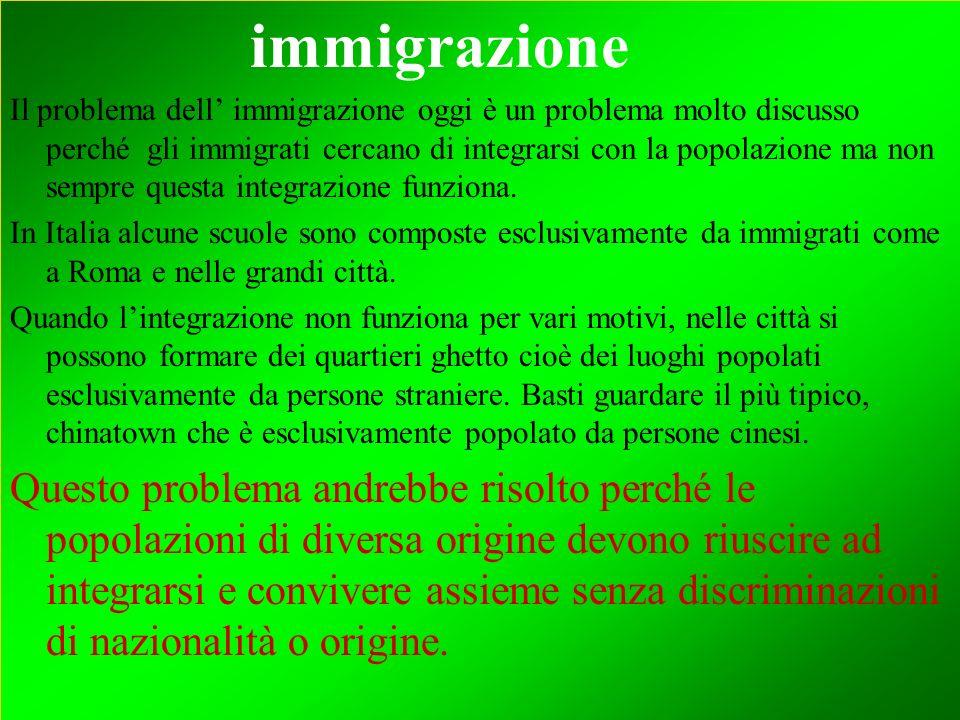 immigrazione Il problema dell immigrazione oggi è un problema molto discusso perché gli immigrati cercano di integrarsi con la popolazione ma non semp
